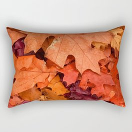 Autumn Fall Red Maple Leaves Rectangular Pillow