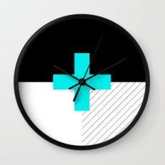 Neon Cross (Blue) // Neon Plus (Blue) Wall Clock