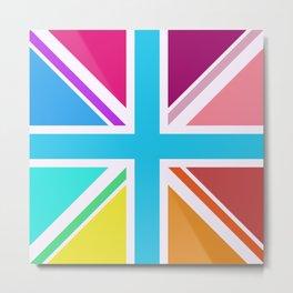 Square Based Union Jack/Flag Design Multicoloured Metal Print