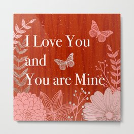 Red and Gold Love Quote Metal Print