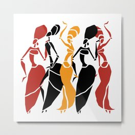 Abstract African dancers silhouette. Figures of african women. Metal Print
