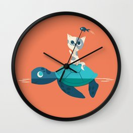 Cat on a Turtle Wall Clock