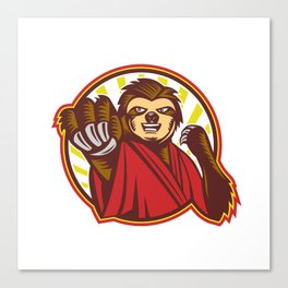 Sloth Fighter Self Defense Circle Mascot Canvas Print