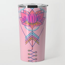 Sacred Lotus Symbol:  Pink & Turquoise geometric Travel Mug