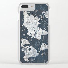 World Map / Rusty Clear iPhone Case