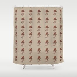 Copper Linen Floral Pattern Shower Curtain