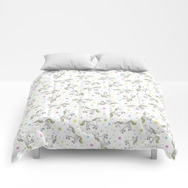 Unicorns and Stars - White and Rainbow scatter pattern Comforters