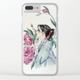 Peonies (Hanbok girls) Watercolor Clear iPhone Case