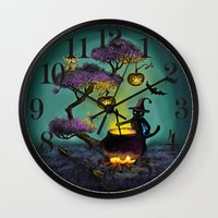 halloween Wall Clocks featuring Halloween by Anna Shell
