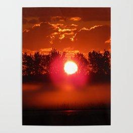 Red Foggy Sunrise Poster