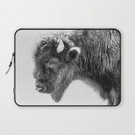 Animal Photography | Bison Portrait | Black and White | Minimalism Laptop Sleeve