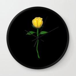 Long Stem Yellow Rose on Black Wall Clock