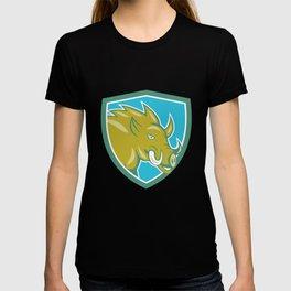 Razorback Head Charge Shield Cartoon T-shirt