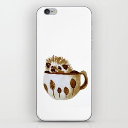 Hedgehog in a Cup Painted with Coffee iPhone Skin