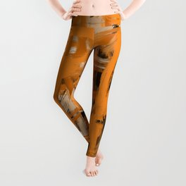 Orange & Taupe Abstract Leggings