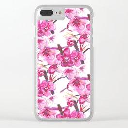 Sakura japanese, watercolor pattern Clear iPhone Case