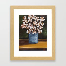 Bouquet of cotton in tin can Framed Art Print
