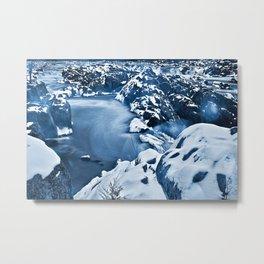 Great Winter Falls - Bokeh Blue Metal Print