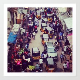 Crowded Indian Street - Streets of India Art Print