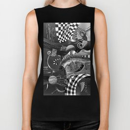 Black and white abstraction explosion of chess Biker Tank