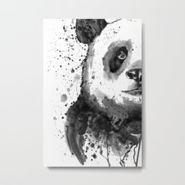 Black And White Half Faced Panda Metal Print