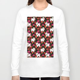 Bichon Frise dogs red rose floral for dog lovers Long Sleeve T-shirt