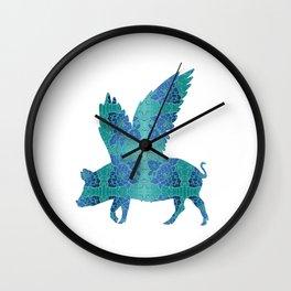 Vintage Blue Flying Pig Wall Clock