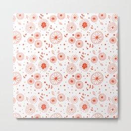 Red doodle flowers Metal Print