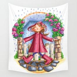 Walking in the rain Wall Tapestry