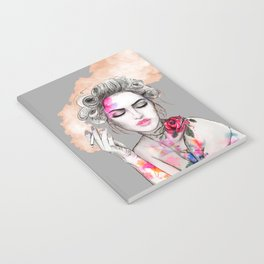 Tender girl, flowers and smoke. #picture Notebook