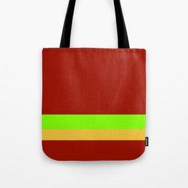 Solid Chestnut Red w/ Lime Green and Solid Light Orange Divider Lines Tote Bag