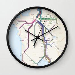Itinéraires de train à grande vitesse de la France Wall Clock