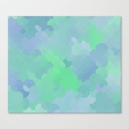 Shades of Blue and Green Octagon Abstract Canvas Print