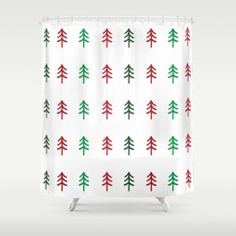 Hand drawn forest green and red trees for Christmas time Shower Curtain