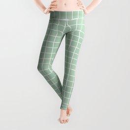 Minimalism Window Pane Grid, Sage Green Leggings