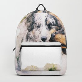 Dogs Animal Art Abstract Watercolor Kiss Vintage dogs lover Backpack