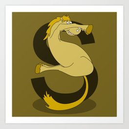 Monogram S Pony Art Print