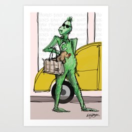 Shopping Grinch Art Print