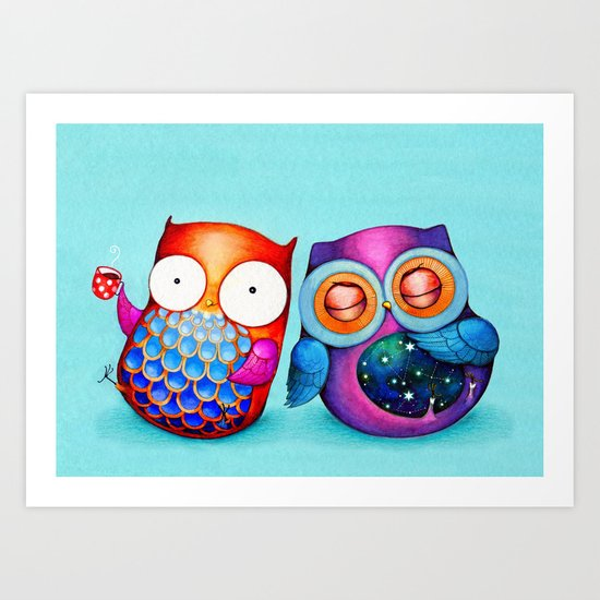 Night and Day Owls Art Print