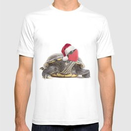 Christmas Turtle in Santa Hat and Face Mask T-shirt