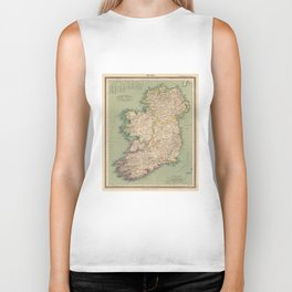 Vintage Map of Ireland (1888) Biker Tank