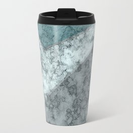 Combined abstract pattern .Green marble . Travel Mug