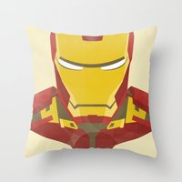 iron man Throw Pillows featuring IRON MAN by LindseyCowley