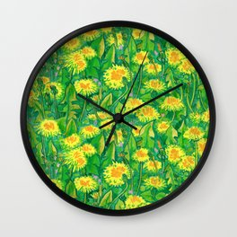 Dandelion Bloom, Summer Wildflowers, Botanical Floral Pattern Wall Clock