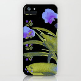 Atom Flowers #34 in purple and green iPhone Case