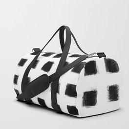 Polka Strokes - Black on Off White Duffle Bag