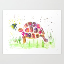 Little Pink Tortoise and a Bumble bee Art Print