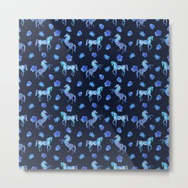 Neon blue -out of a dream- horses Metal Print