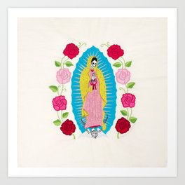 Skull Virgin of Guadalupe_ Hand embroidered Art Print