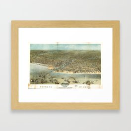 Chicago in 1868 from Schiller Street north side to 12th Street south side Framed Art Print